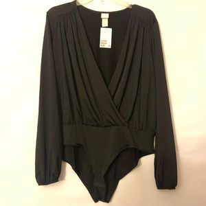 H&M Women's XL Black Low Cut Bodysuit